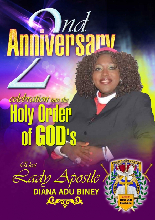HAPPY 2ND ANNUVERSARY TO HER HOLINESS ELECT LADYAPOSTLE DIANA!!!