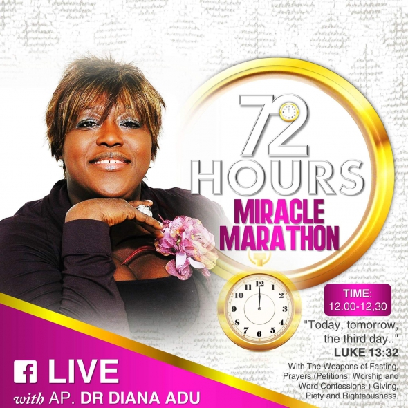 APOSTLE DIANA PRESENTS 72 HOURS MIRACLE MARATHON SERMON ON HER FACEBOOK LIVE BROADCAST